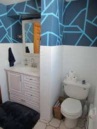 bathroom ideas unusual blue ceramic tiles wall geometric shaped