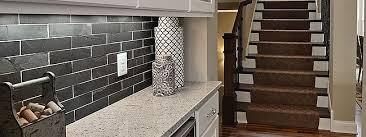 slate tile kitchen backsplash stunning black subway tile backsplash on kitchen with copper color