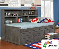 kids captain bed twin size bookcase captains daybed driftwood gray allen house