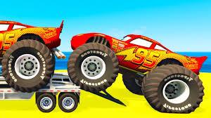 lightning mcqueen monster truck videos lightning mcqueen cars transportation u0026 spiderman kids cartoon w