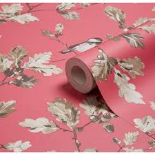 wallpaper luxury pink acorn trail wallpaper birds trees flowers leaves outdoor luxury pink
