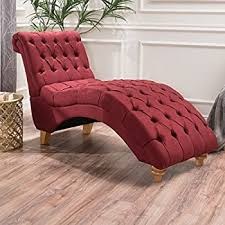 Leopard Print Chaise Amazon Com Bellanca Fabric Tufted Chaise Lounge Chair Deep Red
