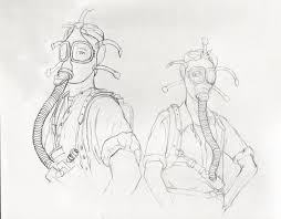 sketch of women in gas masks greg tatum