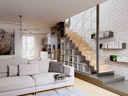Floating Bookcases Interiors Geometric Staircase Handrails Integrated With Book