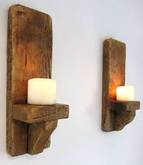Shabby Chic Wall Sconce by Pair Of 39cm Rustic Solid Wood Handmade Shabby Chic Wall Sconce