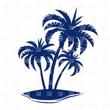 tropical island with palm tree silhouette vector clipart image
