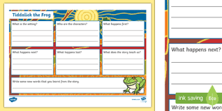 frog book review writing template australia