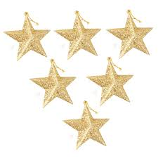 pack of 6 hanging ornaments gold glitter stars christmas tree