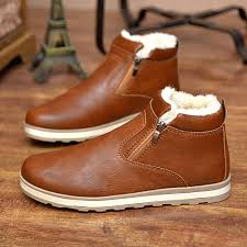 winter men snow boots male british warm fur ankle boots plush