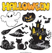 critter clipart of a halloween icons and text by visekart 1407
