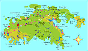st map map of st usvi major tourist attractions maps