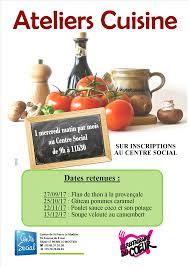 affiche atelier cuisine ateliers cuisine centre social du canton de st le moûtier