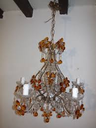 Amber Chandelier French Amber Balls Crystal Prisms Flowers Chandelier At 1stdibs