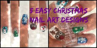 5 easy christmas nail art designs no tools youtube