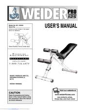 Weider Pro Bench Weider Pro 125 831 150462 Manuals