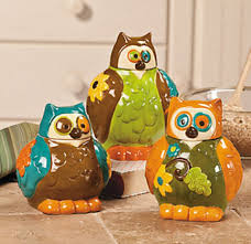 amazon com owl canisters jars kitchen decor set of 3 home