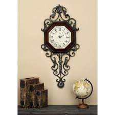 Wall Clock 39 In X 18 In Wood And Metal Wall Clock 13688 The Home Depot