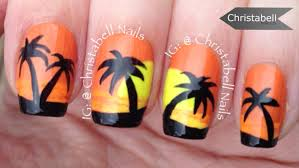 christabellnails palm tree sunset nail tutorial