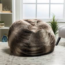 monroe faux fur 2 75 foot lounge beanbag chair by christopher
