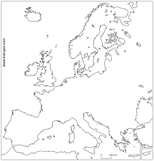 blank map of europe including black white and coloring page within