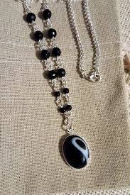 silver agate necklace images Black and white onyx agate necklace beaded cabachon pendant jpg