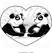 pal clipart of a black and white panda couple in a heart by cory