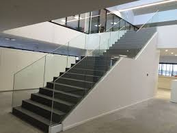 Glass Stair Rail by Glass Railing With Panels Indoor For Stairs Sabco Sadev