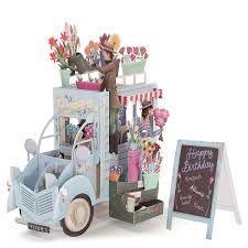 wholesale romantic 3d pop up car of flower greeting cards happy