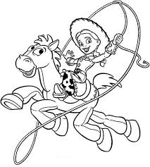 jessie riding bullseye in toy story coloring page download