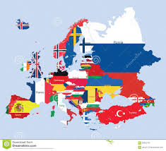 European Map by Combined Flag Maps Of European Union Countries Stock Illustration