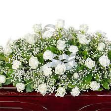 funeral casket funeral casket flowers white roses carnations babies breath