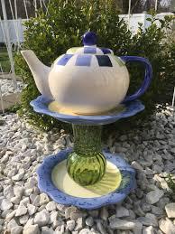 Upcycled Garden Decor Teapot Whimsy Upcycled Yard Art Teapot Garden Decor Ceramic