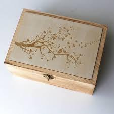 personalized wooden keepsake box birds on branch wedding guest book custom vintage wedding box