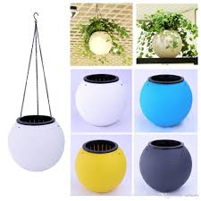 2017 creative round plastic hanging planters self watering hanging
