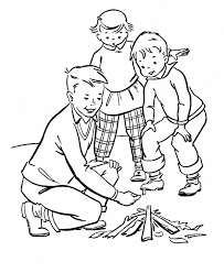 camping coloring pages making campfire coloringstar