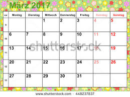 calendar 2017 months march holidays germany stock vector 448237837