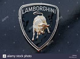 lamborghini logo lamborghini logo wordmark with an image of a bull stock photo