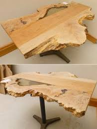 Maple Table Top by Natural Edge English Elm Wood Slab With Padauk Inlay Semi Finished