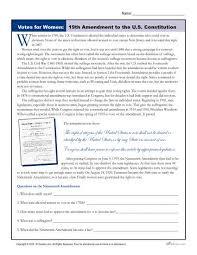 women u0027s history month worksheet 19th amendment