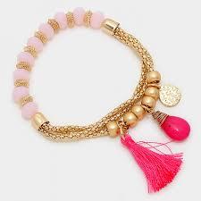 rose quartz bead bracelet images Rose quartz beads hot pink tassel semi precious bracelet jpg
