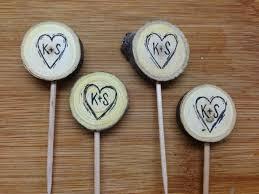 custom cupcake toppers rustic wedding cupcake toppers custom initials hearts tree slice
