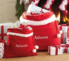 personalized santa sack fleece santa bags pottery barn kids