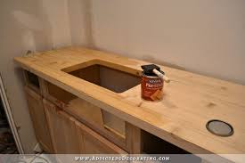 Butcher Block Kitchen Countertops Dark Stained Diy Butcherblock Countertop With An Undermount Sink