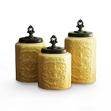 Tuscan Kitchen Canisters Sets Amazon Com American Atelier Canisters Cream Antique Set Of 3