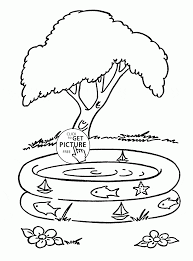 summer and kids pool coloring page for kids seasons coloring