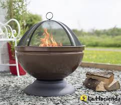 Firepits Co Uk La Hacienda Globe Bronze Effect Firepit With Grill Gardensite Co Uk