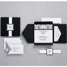 Blank Wedding Invitation Card Stock Black And White Scroll Monogram Pocket Invitation Wilton