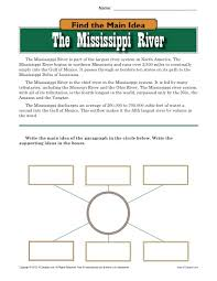 high main idea worksheet about the mississippi river