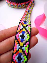 woven ribbon neon woven ribbon 23 mm bright fluorescent cotton trim jacquard