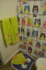 Beach Themed Bathroom Accessories by Bathroom Interesting Shower Curtain Owl Bathroom Set With Green